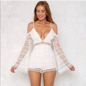 LF white crochet romper